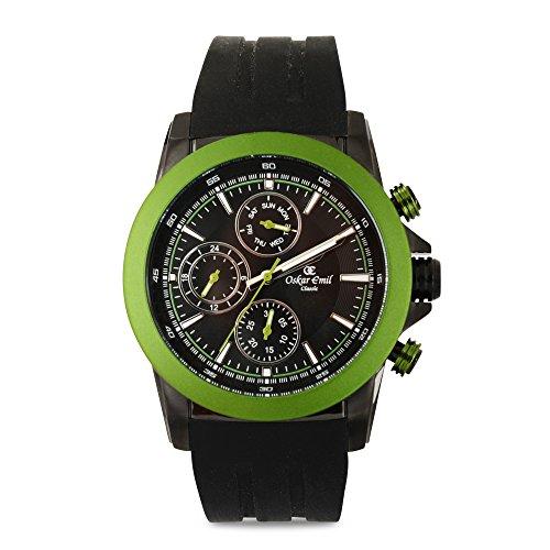 De los deportes de Oskar Emil para hombre reloj infantil de cuarzo con esfera cronógrafo y negro correa de silicona Winston verde