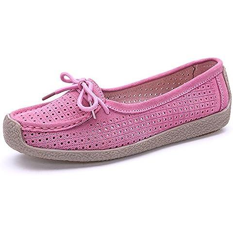 Auspicious beginning Pelle delle donne nabuk scava fuori lacci fannulloni piani dello scarpe (Gomma Da Masticare Rosa Pelle)