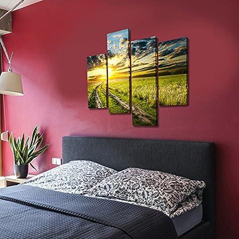 SUN-Field Prints On Canvas Art encadré et étiré pour décorations à la maison 4pcs / set