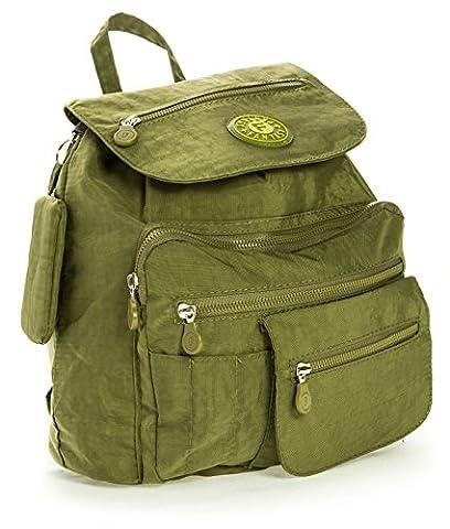 Big Handbag Shop Unisex Lightweight Fabric Small Drawstring Backpack Duffel Bag (RA-015K Olive Green)