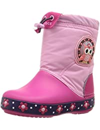 Crocs Lights Lodge Point Night Owl Girls Boot In Pink