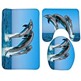 RedBeans Badvorleger, Delfin, Meeresboden, Fisch, Korallen, Unterwasser, Badteppich, Rutschfest, 3-teiliges Set