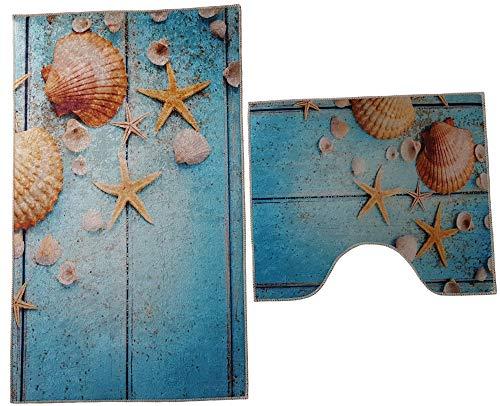 Dora 2- teilig Badgarnitur rechteckig 60x100cm und 50x 60cm, Badset Vintage für Stand-WC Badematten Badteppich (türkis beige Strand Muscheln)