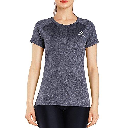 Ogeenier Damen Shirt Running Short Sleeve Tops, Rund Hals Quick Dry Workout Sports Yoga Kurz Shirts Tops, Damen, Grau, Medium Ärmel Runde-shirt