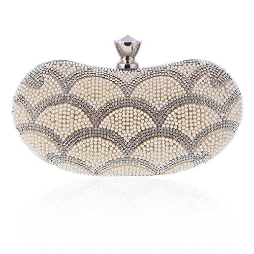 Damara® Elegant Perle Damen Hartschalen Clutch Kurve Handtasche Gold