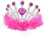 Kids PRINCESS Crown Jewel Fancy Dress TIARA - Hot Pink (3-8 years) Lucy Locket