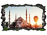3D Wandtattoo Istanbul Moschee Türkei Skyline Wand Aufkleber Wanddurchbruch sticker selbstklebend Wandbild Wandsticker Wohnzimmer 11P021, Wandbild Größe F:ca. 140cmx82cm
