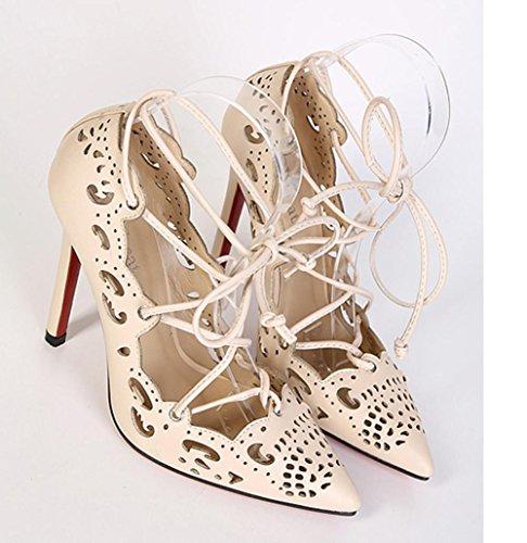 YMXJB L'Europe et les sangles de cuisse-creux en haut talons chaussures femme apricot