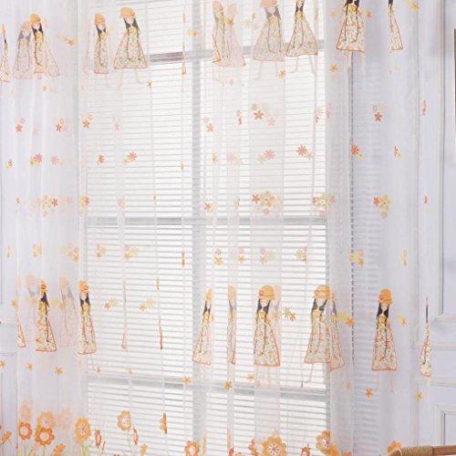 LCLrute 1 PC Rod tragen Fenster Vorhänge Einfarbig Fenster Behandlung Panels Tür Drapieren 100 cm x 200 cm (Gelb) (Mädchen Schlafzimmer Schabracken)