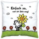 """Sheepworld 43476 Baumwollkissen """"Einfach so, weil ich Dich mag!"""", 40 cm x 40 cm, mehrfarbig"""