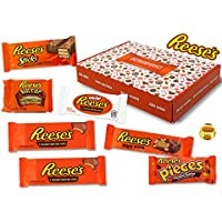 Reeses - Sweet Box - Cesta de regalo | 8 dulces estadounidenses diferentes | Tazas de mantequilla de maní en leche entera y chocolate blanco | USA Reese Sticks, Nut Bar, Piezas, Big Cup, etc.