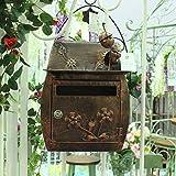 HZB Europäischer klassischer Landhaus-Briefkasten, Garten-Wand-Wand-wasserdichter im Freien Briefkasten, antike kupferne Farbe