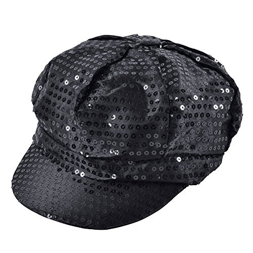 Black Sequin Cap 70's Style, Black for Women.