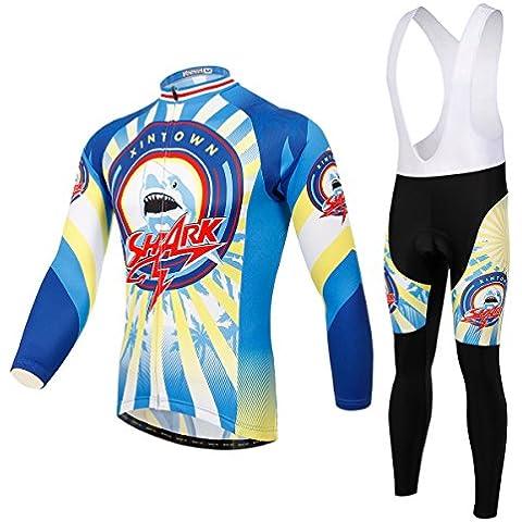 Maglia ciclismo manica lunga 3D imbottito Bib Pants Set XINTOWN uomo, inverno all'aperto caldo pile abbigliamento sportivo , xxxl