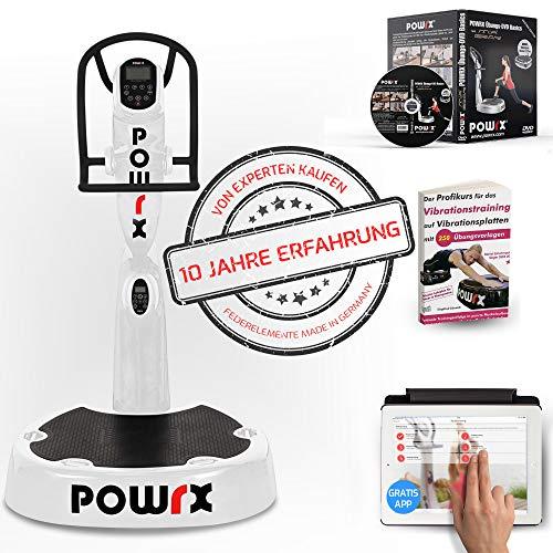 POWRX Vibrationsplatte Pro Evolution 3.5 inkl. Zubehörpaket I Effektives Vibrationstraining wie im Studio I weiß