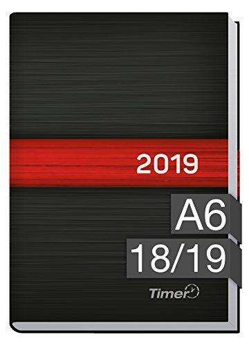 Chäff-Timer mini A6 Kalender 2018/2019 [schwarz-rot] 18 Monate Juli 2018-Dezember 2019 - Terminkalender mit Wochenplaner - Organizer - Wochenkalender