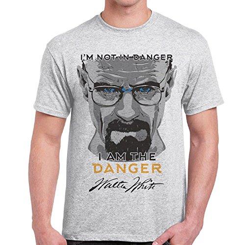 CHEMAGLIETTE! - T-Shirt Maglietta Stampa Breaking Bad Heisenberg I'M The Danger Cotone Uomo, Colore: Cenere, Taglia: L