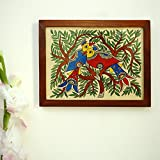 ExclusiveLane 'The Nesting Tree' Mithila Hand-Painted Wall Décor Living Room Home Decorative Wall Hanging Paintings (Multicolor)