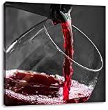 köstlicher Rotwein schwarz/weiß, Format: 70x70 auf Leinwand, XXL riesige Bilder fertig gerahmt mit Keilrahmen, Kunstdruck auf Wandbild mit Rahmen, günstiger als Gemälde oder Ölbild, kein Poster oder Plakat
