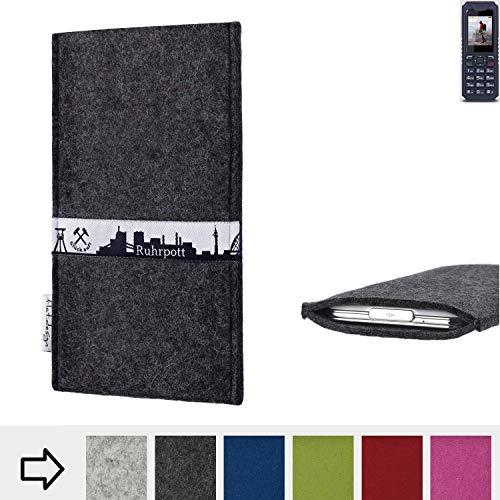 flat.design für bea-fon AL250 Schutzhülle Handy Tasche Skyline mit Webband Ruhrpott - Maßanfertigung der Schutztasche Handy Hülle aus 100% Wollfilz (anthrazit) für bea-fon AL250