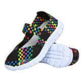 L-RUN Womens Casual Mary Jane Multi Coloured Lightweight Sandals Slip On Black EU36