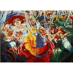 Posterlounge Leinwandbild 170 x 120 cm: La risata von Umberto Boccioni/akg-Images - fertiges Wandbild, Bild auf Keilrahmen, Fertigbild auf echter Leinwand, Leinwanddruck