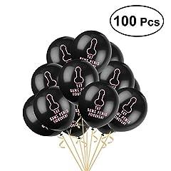Idea Regalo - BESTOYARD stesso pines Forever palloncini nero palloncini in lattice 30,5cm addio al nubilato puntelli decorazione per addio al nubilato feste Favors Supplies, confezione da 100