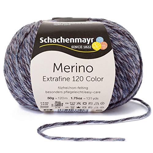 Schachenmayr Merino Extrafine Color 120 9807553-00496 denim Handstrickgarn, Schurwolle -