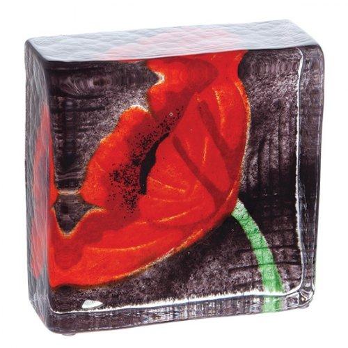Briefbeschwerer aus Glas, Motiv Mohnblumen