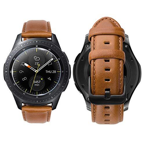 iBazal 20mm Armband Leder Uhrenarmband Lederarmband Armbänder Ersatz für Samsung Galaxy Watch 42mm/Active 40mm/Huawei 2/Gear S2 Classic/Sport/Ticwatch 2/E/Vivoactive 3/Vivomove HR Uhrarmband - Braun