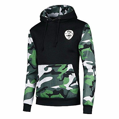 JYJM Herren Camouflage Jacke Herren Kapuzenjacke Herren Pullover Sweatshirt Hoodie Herren Langarm Jacke Herren Taschenjacke Cotton Warme...