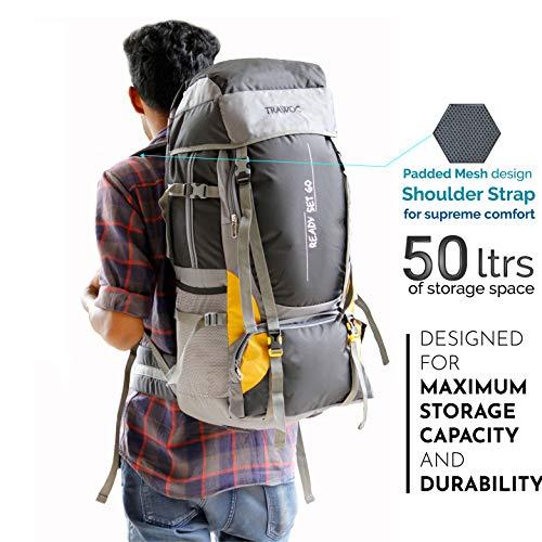 TRAWOC 55 Ltr Travel Backpack for Outdoor Sport Camping Hiking Trekking Bag Rucksack, Black Image 6