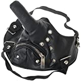 MagiDeal Windproof Dust-proof Bicycle Sport PU Leather Long Nose Half Face Zipper Mask With Rivet Decor Long Nose Funny Cool Mask