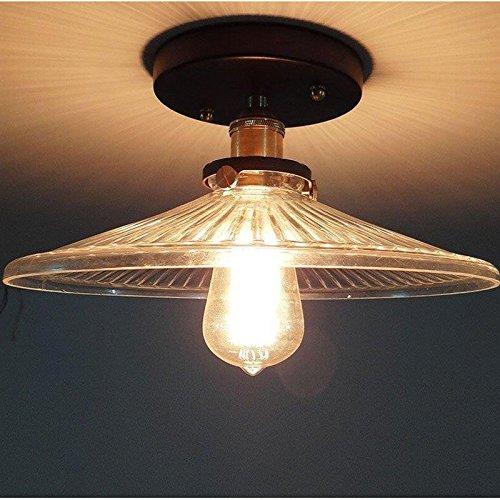 hahaemall Vintage Retro Industrie Edison kurz Kopf aus Metall Schirm Glas Lampenschirm Deckenleuchte Anhänger Fassung/Leuchtmittel Glas Lampenschirme Für Deckenleuchten