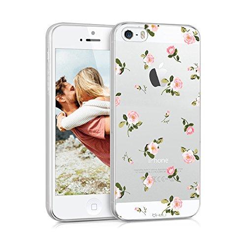 HULI Design Case Hülle für Apple iPhone SE / 5 / SE mit Rosen Muster - Handy Schutzhülle klar aus Silikon mit romantischen Blumen Romantik - Handyhülle durchsichtig mit Druck