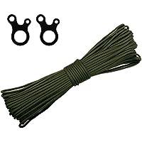 Cordón de poliéster para accesorios Morric, de 4 mm, precortado, cuerda suave y trenzada de paracaídas 550, con 2 hebillas de supervivencia para acampada al aire libre, senderismo, Army Green