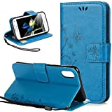 iPhone X Hülle Leder Kartenfach/iPhone Xs Case Silikon, Nnopbeclik Flip Case Handyhülle/Wallet[Ledertasche]Emboss Butterfly Cover[Magnet]Schutzhülle iPhone X Case/iPhone Xs Case(Blau)