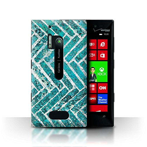 Stuff4 Hülle / Case für Nokia Lumia 928 / Ziegel/Stein/Mauer Muster / Teal Mode Kollektion (Nokia Lumia 928 Case Blau)