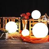 4er Kugelleuchten-Set für Ihren Garten | Kugeln Ø 15,20, 25 und 30cm | Leuchten mit 2m Gummianschlussleitung und Stecker | Gartenbeleuchtung Gartenkugeln 230V