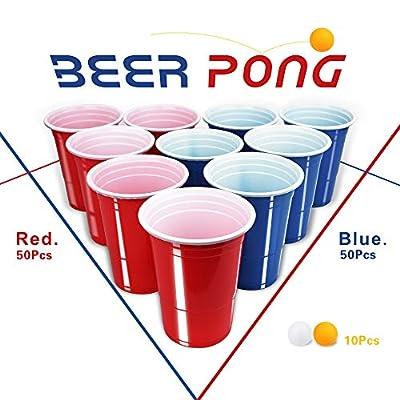 Beer Pong gobelets, 100American Beer Pong Tasses et 10balles, 453,6gram gobelets jetables pour fête de Noël amusants et jeu
