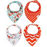 Baby Bandana Drool Bibs Burp Cloths Boys Girls Unisex With Snap Absorbent Cotton For Teething Feeding Hypoallergenic For Infant Girls Shower Gift Set 4 Pack By Busy Mom Fox