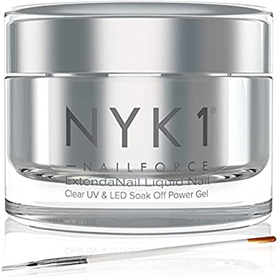 NYK1 NAIL FORCE UV and LED Power Gel Builder Glue Repair, Fix Split and Broken Nails and Extend. Amazing Nail Gel Polish Strengthener and Hardener. Nail Extensions, Tips, Sculpture Gel, Overlays and Natural with FREE Application Brush Soak Off Formula for