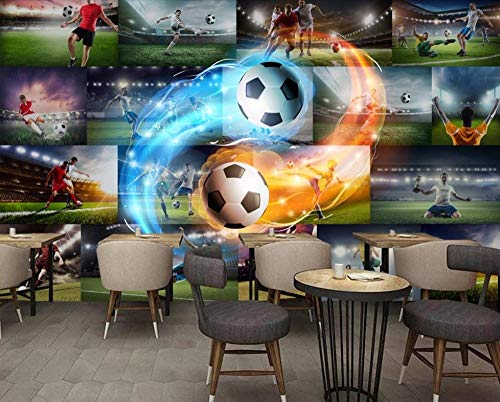 Custom wallpaper for bedroom walls Living room back TV background wallpaper Football star flame wall papers home decor 3d Poster zxfcccky-400X280CM