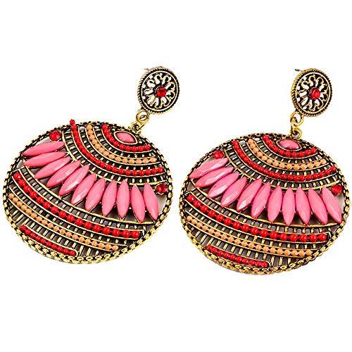 Andouy Mode Ohrringe Persönlichkeit Runde Böhmen Perlen Ohrringe Vintage Schmuck ()