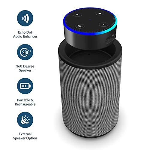 Majority Hobson - Kompatibel mit Echo Dot (Gen 1 und 2) - 360 Lautsprecher mit Dockingfach, aufladbar und tragbar, 20 Stunden unterwegs, AUX IN Kompatibel mit iPhone/Android / MP3, AUX (Dunkelgrau)