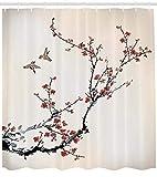 Abakuhaus Duschvorhang, Kirschblüten Blumen Knospen und Vögel Asiatische Art Grafik mit Malerei Druck Creme, Blickdicht aus Stoff inkl. 12 Ringen Umweltfreundlich Waschbar, 175 X 200 cm