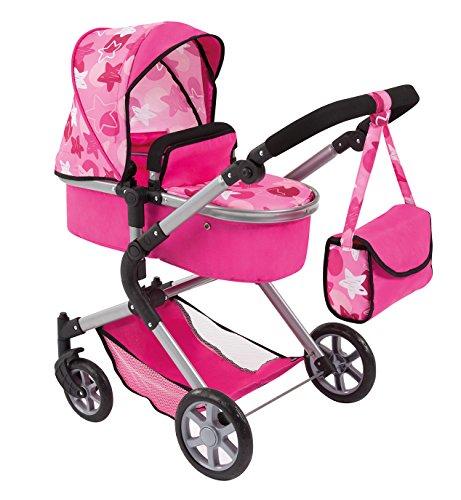Bayer Design 18149AA carrito para muñecas NEO STAR con bolso cambiador y cesta de la compra debajo Convertable para carrito de bebé, color rosa con patrón