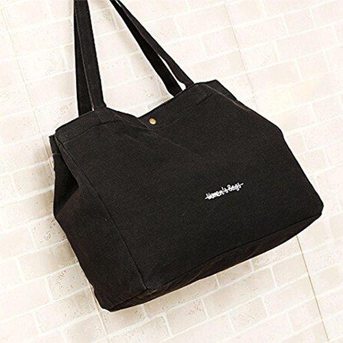 Malloom® Donna Borse a spalla Di Tela Borsa Black
