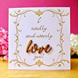 I Totally and Utterly Love You Card, Handmade Anniversary, Wedding Day, Husband, Wife, Valentines