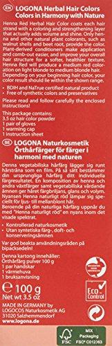 LOGONA Naturkosmetik Coloration Pflanzenhaarfarbe, Pulver - 030 Naturrot - Rot, Natürliche & pflegende Haarfärbung (100g) - 2